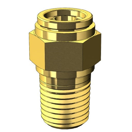 Brass Push to Connect Fitting - Metric Nylon Tube to Male NPT Thread