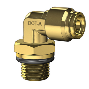 Brass Push to Connect Male Swivel Elbow - Metric Nylon Tube to Metric Thread