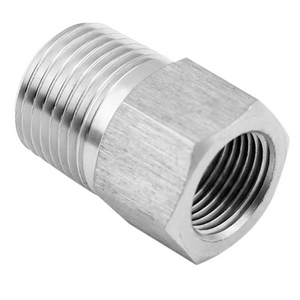 Steel Metric Female to Male Imperial NPT Adapter