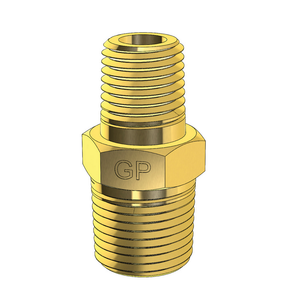 Brass Unequal Hex Nipple Metric to Imperial NPT