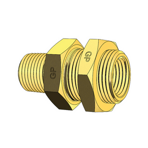 "Steel Bulkhead Connector with 3/4"" BSP Male Mounting Bolt"