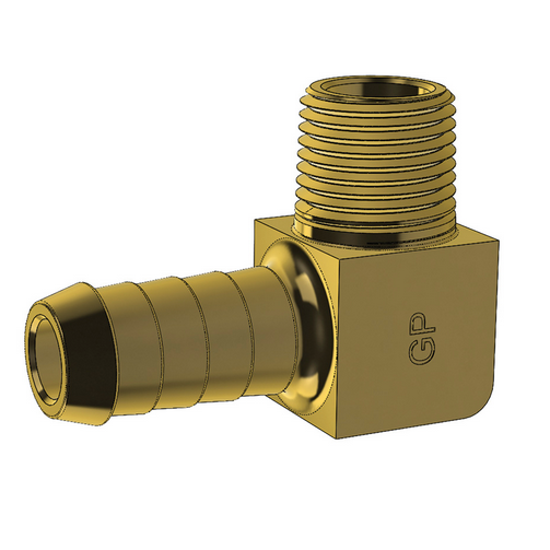 Brass Hose Barb 90 degree Elbow Imperial Hose Barb to Male Thread