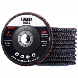 "Swarts Tools 5"" Zirconia Flap Disc for Grinder - Box of 10"