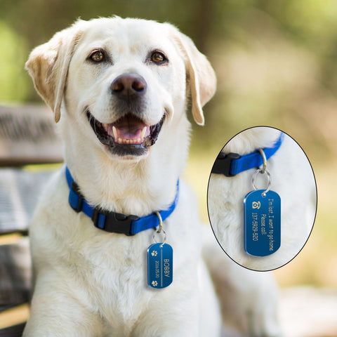 Metal Military Dog ID Tag Dog Accessories Customized Engraved Cat Puppy Name Tag Phone No. for Medium Large Pet Labrador