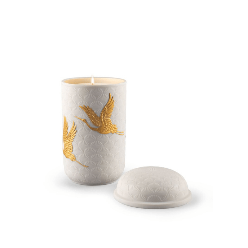 Lladro Home Accessories Default Golden Cranes Candle. Redwood Fire Scent