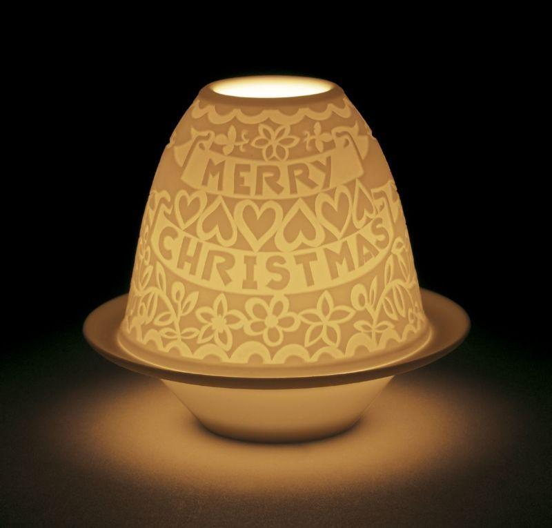 Lladro Home Accessories Default Lithophane Votive Light-Cutouts Merry Christmas