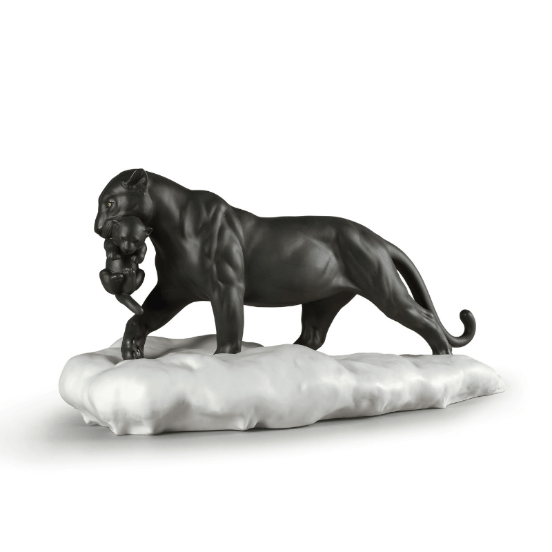 Lladro Inspiration Default Black panther with cub