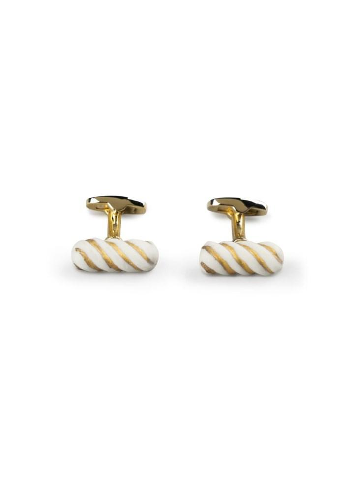 Lladro Inspiration Default Candy Cufflinks. White and Gold