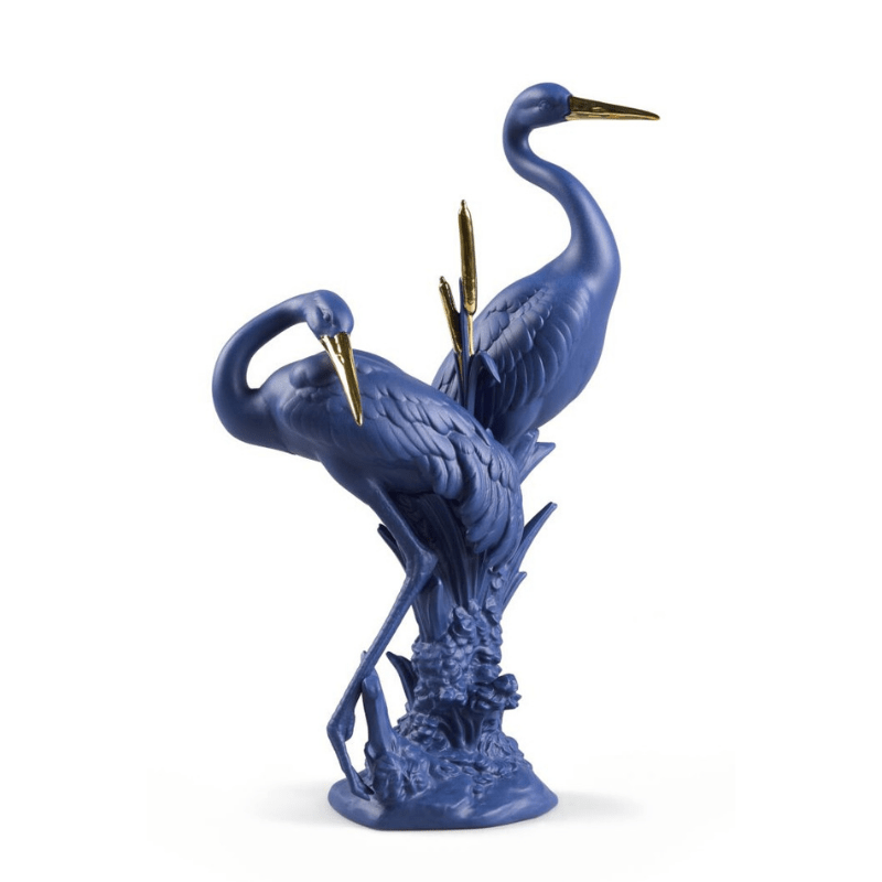 Lladro Inspiration Default Courting Cranes Sculpture - Blue Gold - Limited Edition