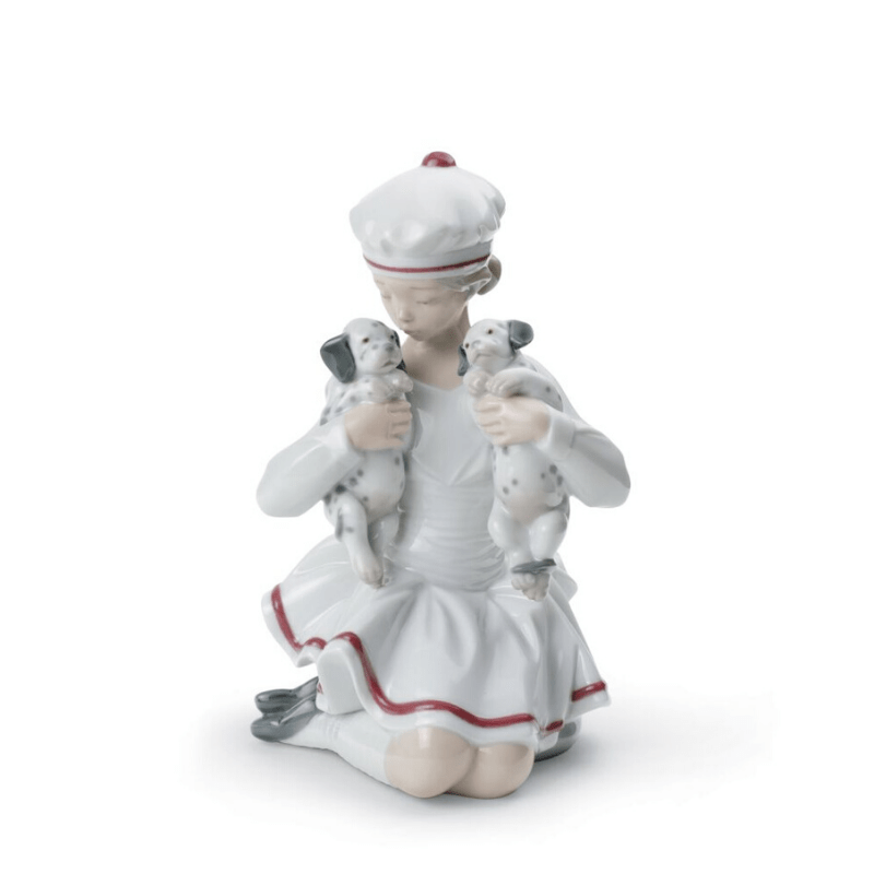 Lladro Inspiration Default Girl with Dalmatians Figurine