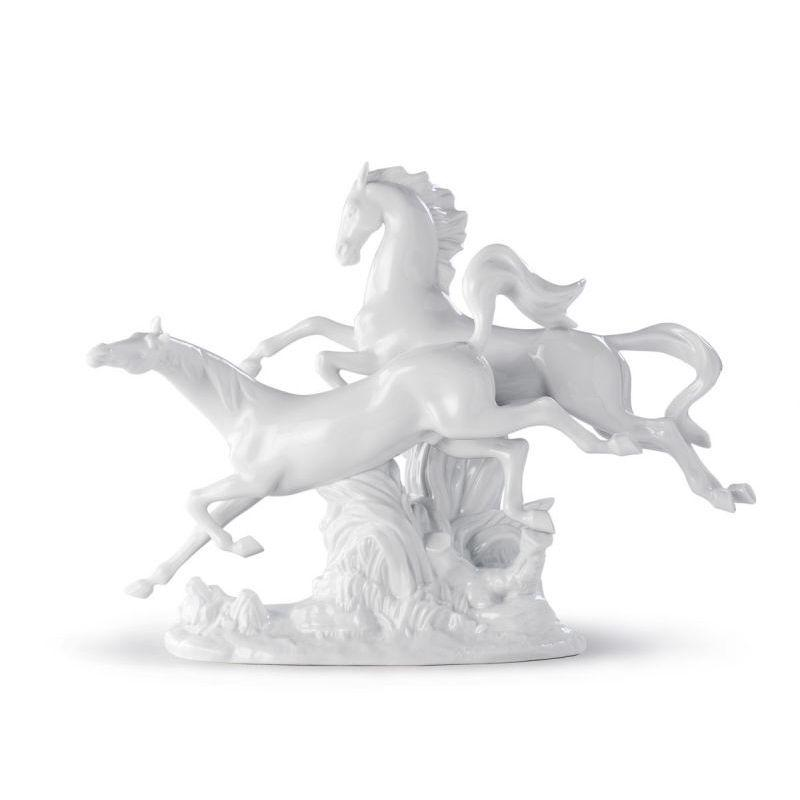 Lladro Inspiration Default Horses Galloping (White)