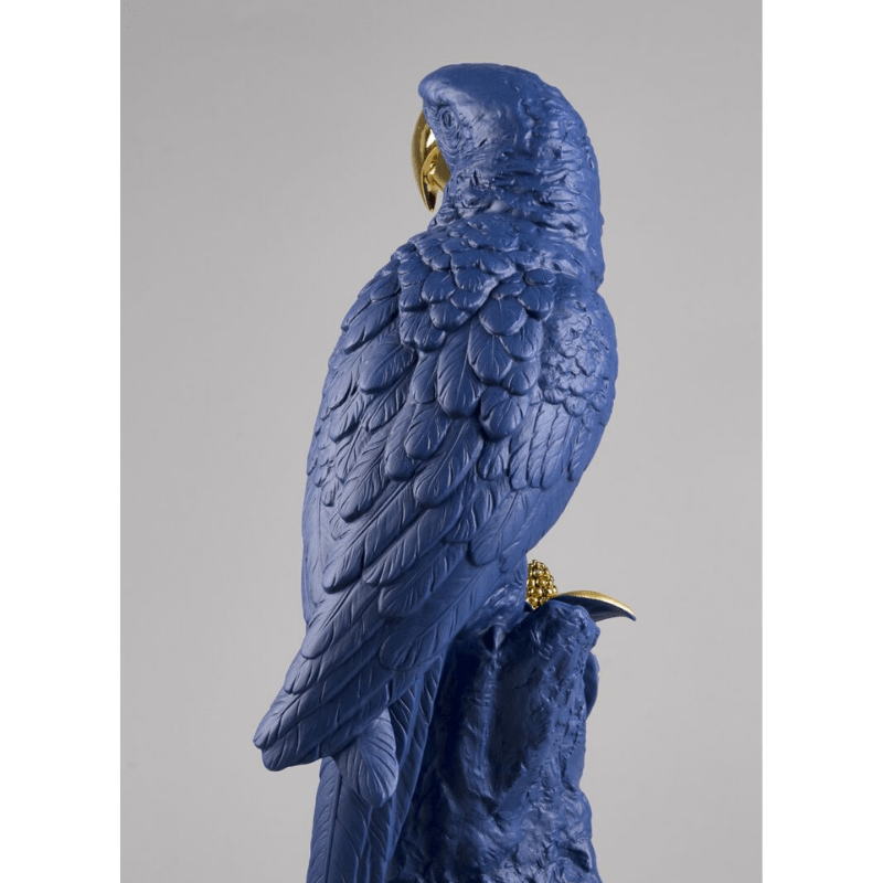 Lladro Inspiration Default Macaw Bird Sculpture - Blue Gold - Limited Edition