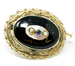 14k Solid Yellow Gold Enamel with Pearl & Sapphire Brooch