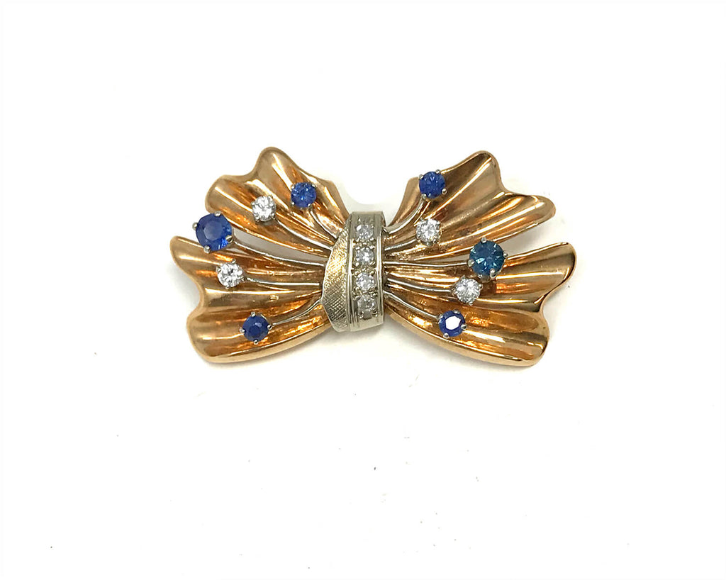14k Gold Diamonds & Blue Sapphire Buckle Brooch
