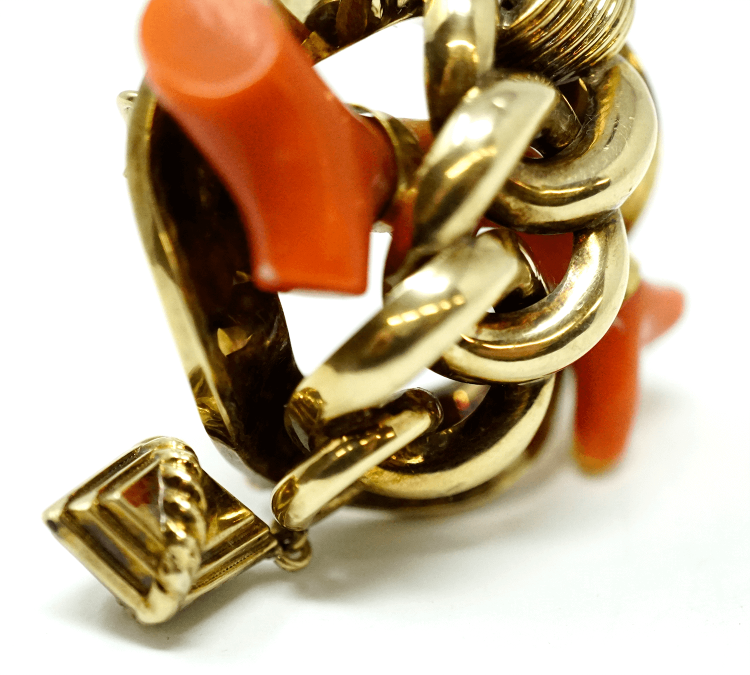 Antique 18k Gold and Red Coral Brooch