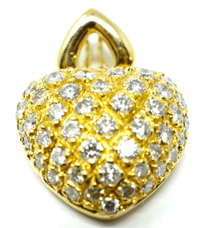 Fine 18k gold pendant heart design with 2.5c diamonds