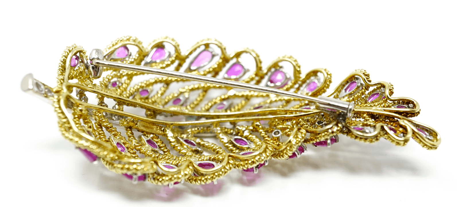 Solid 18k Yellow Diamonds & Ruby Brooch w/ Certificate