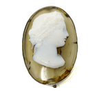 Oval agate high relief 18th century cameo brooch