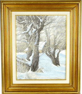 Canadian signed Andre L'Archeveque Oil Painting titled Accalmie 25 1/2 inches x 21 1/2 inches