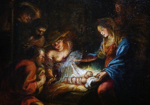 Circle of Anthony Van Dyck Painting Adoration of the Shepherds