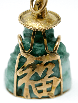 Antique Chinese 14k gold and jade buddha pendant