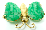 Antique Chinese 14k gold diamond ladies brooch butterfly design jadeite COA