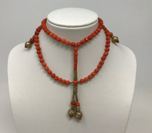Antique Salmon Red Coral Beads Necklace