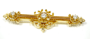 Antique Victorian 14k Solid Gold and Diamond Brooch