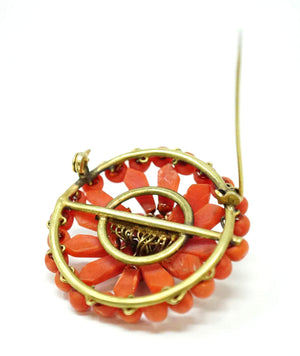 Antique Victorian Red Coral Brooch