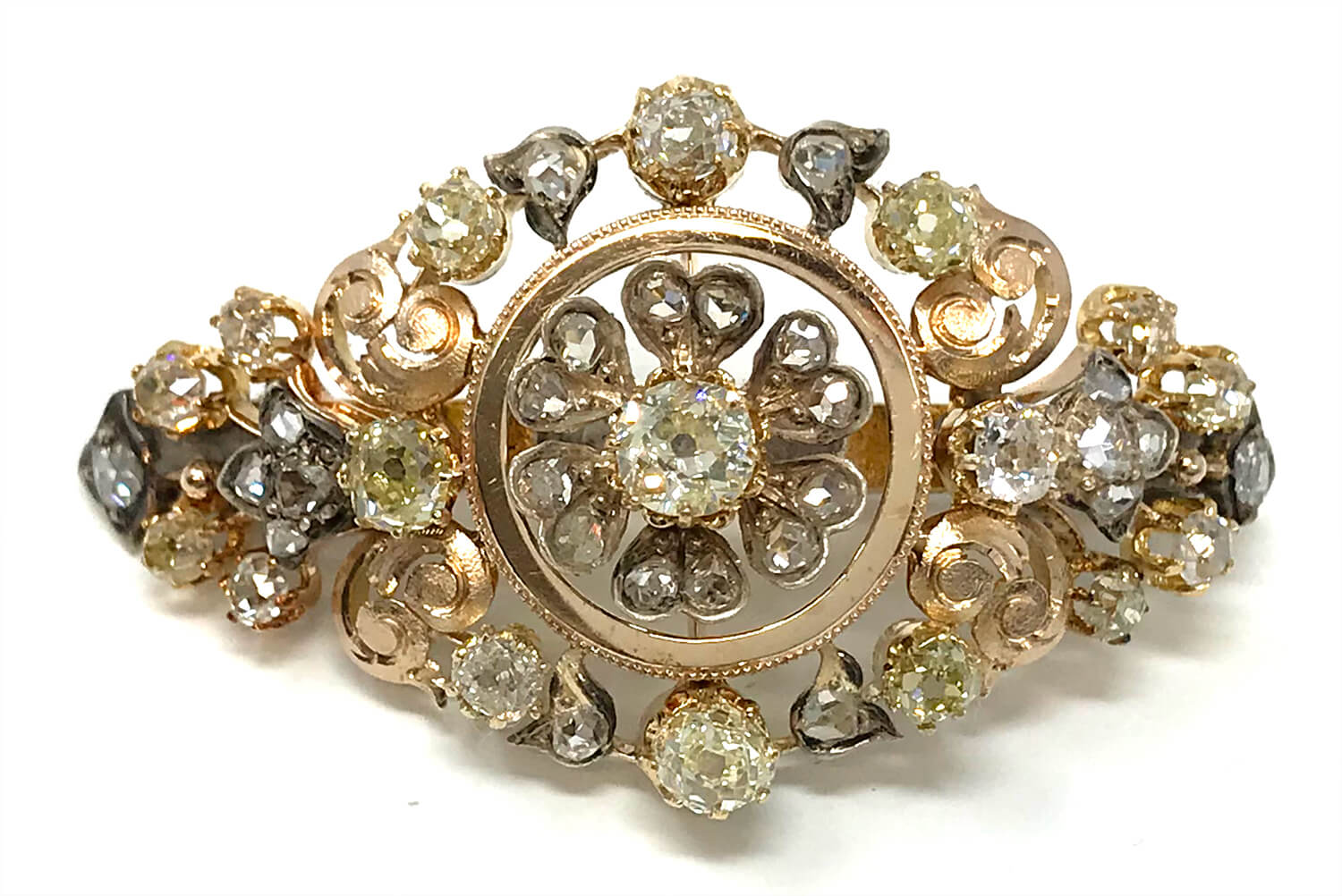Antique Victoria era 18k gold and genuine diamond brooch