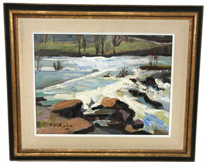 Canadian Armand Tatossian Painting Winter Landscape