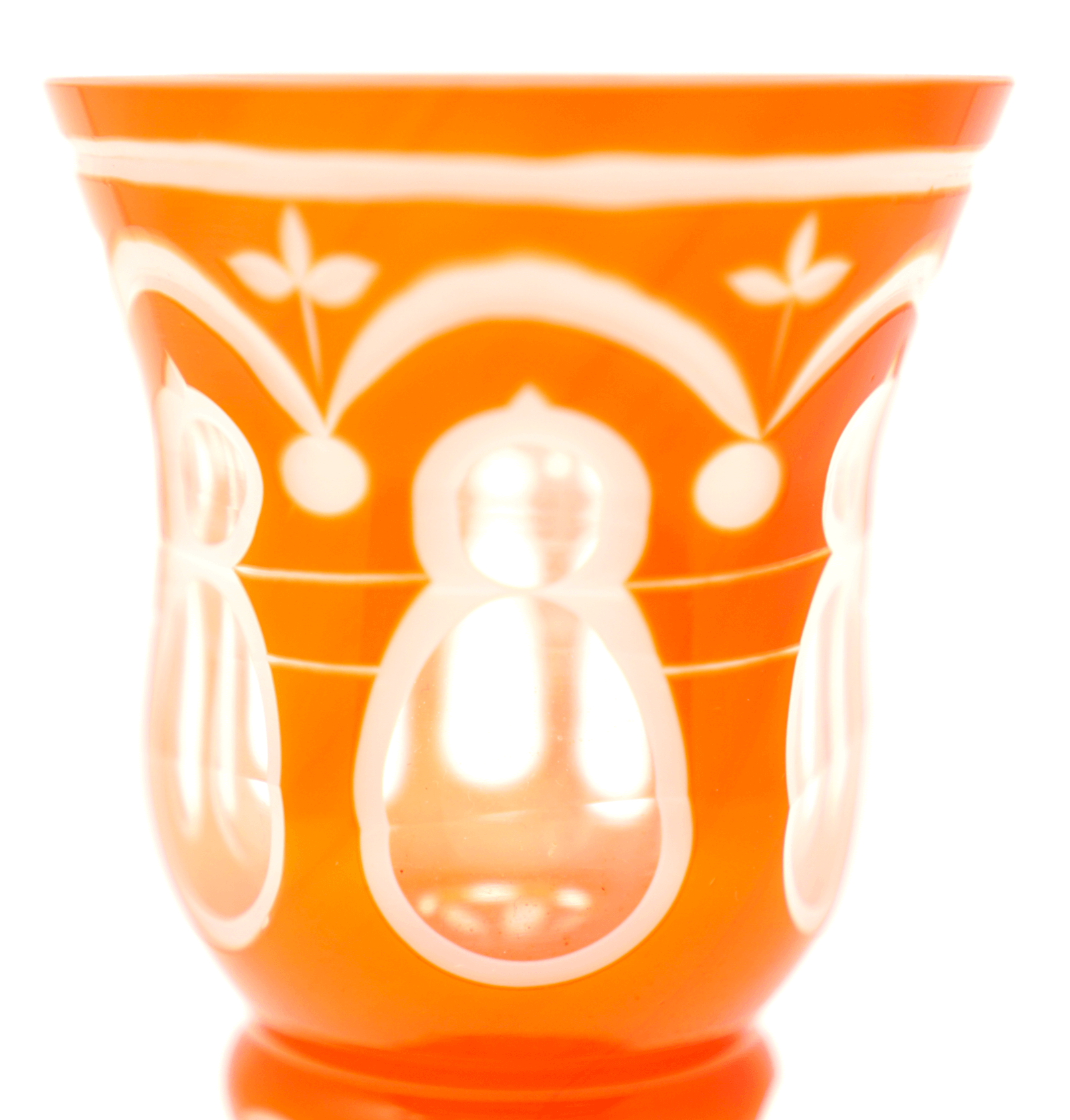 Bohemian Cameo Glass Orange Goblet
