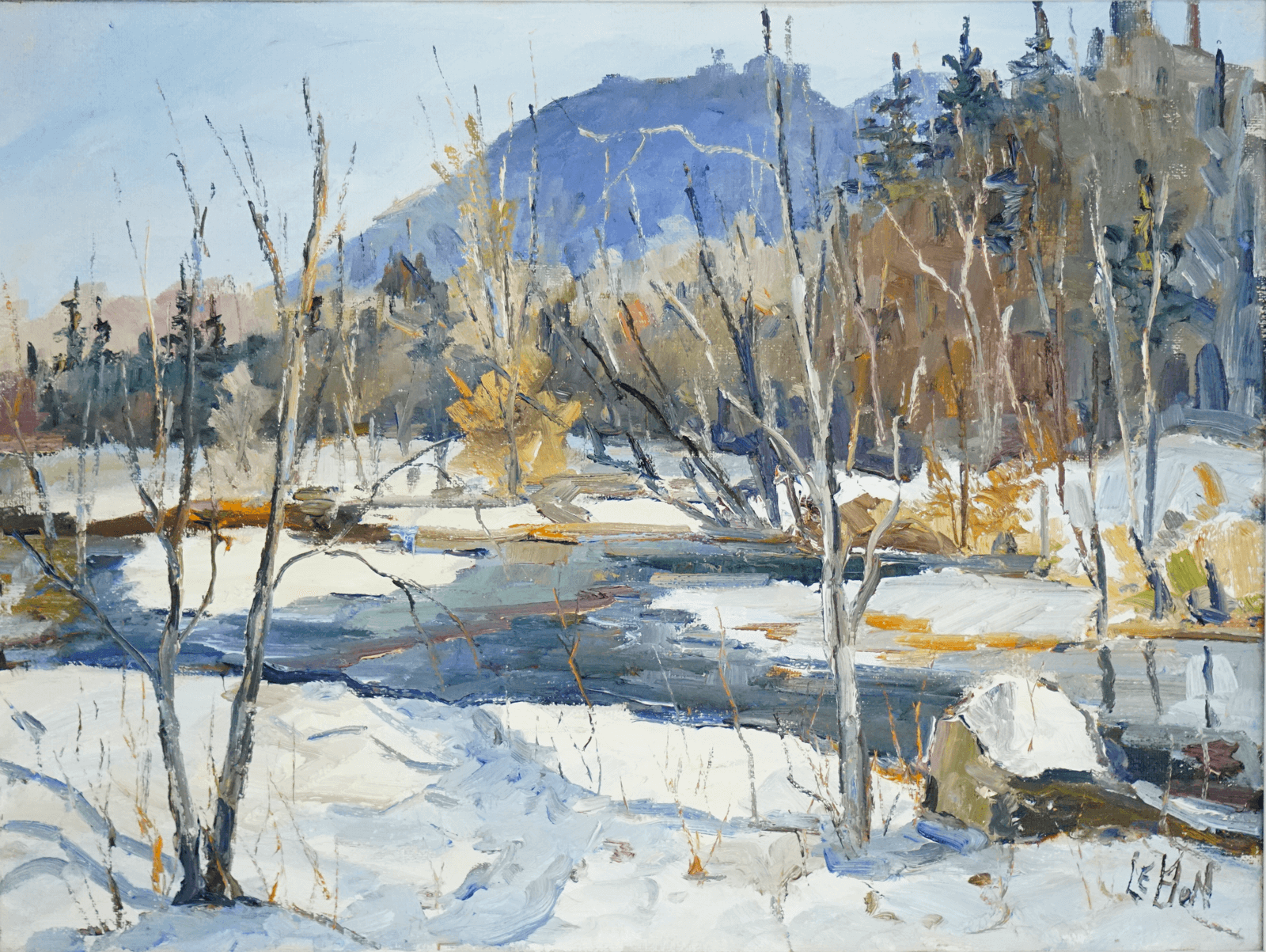 Canadian Painting by Maurice Le Bon Winter Scene