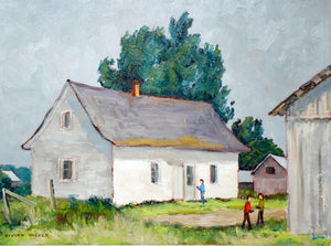 Canadian Painting by Vivian Walker Farm Mirabel PQ.