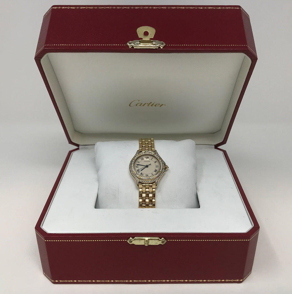 Cartier Cougar Panthere 18k Gold Diamond Ladies Watch