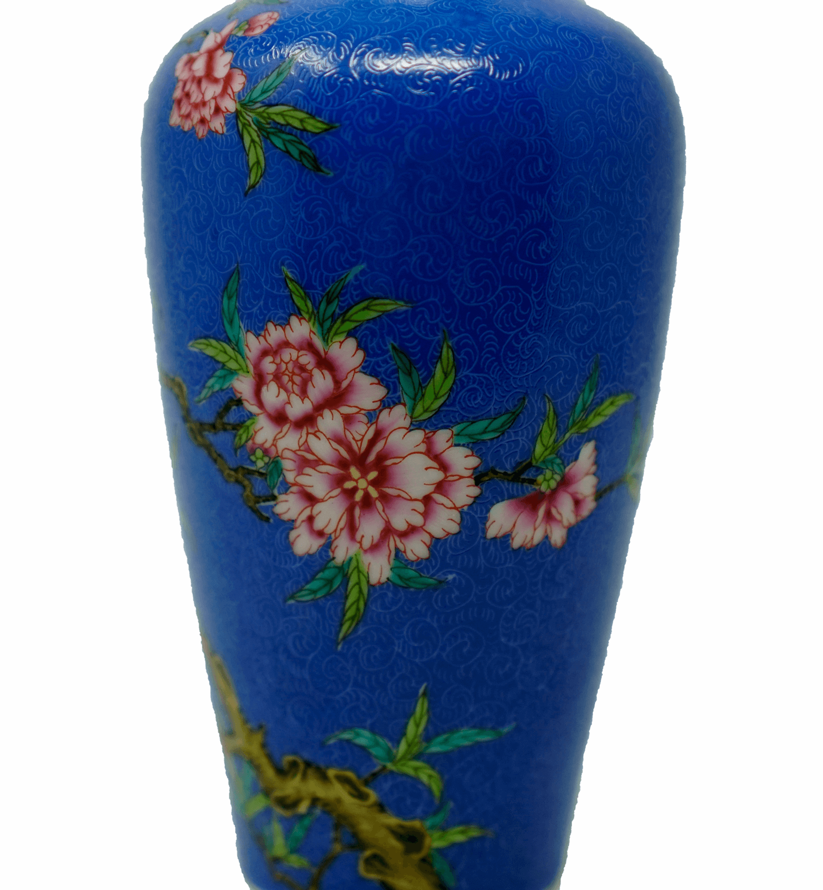 Chinese Famille Rose Blue Sgraffiato Ground Vase
