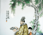 Chinese Painted Porcelain Plaque Scholar Boy with Master