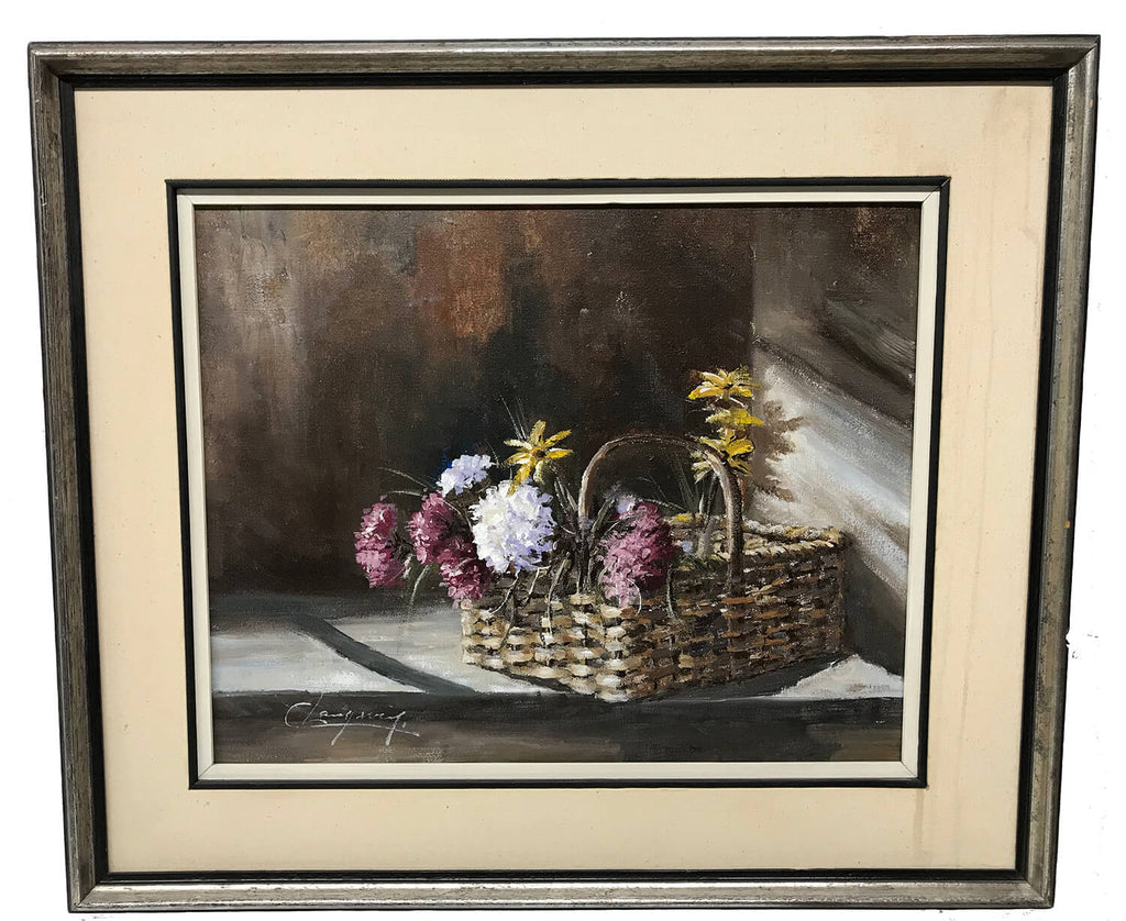 Canadian Claude Langevin Flower Basket Painting