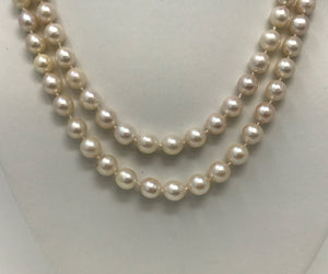 Double Row Akoya Cultured Pearl 14k Clasp Necklace