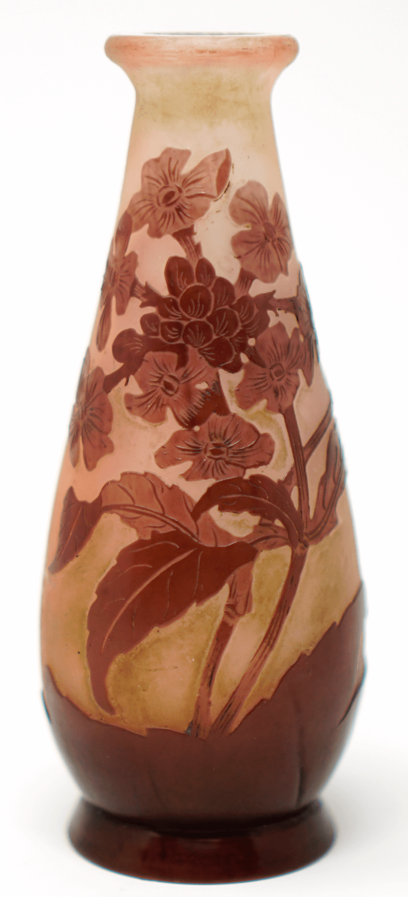 Emile Galle flower design decorative fluted vase