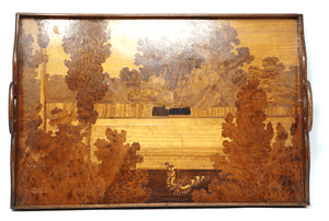 Emile Galle art nouveau marquetry gallery tray