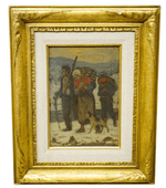Emile Troncy Painting Peasants in a Winter Scene