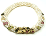 Vintage 14k gold pearl necklace