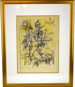 Gen Paul signed crayon framed painting 11 inches x 15 inches