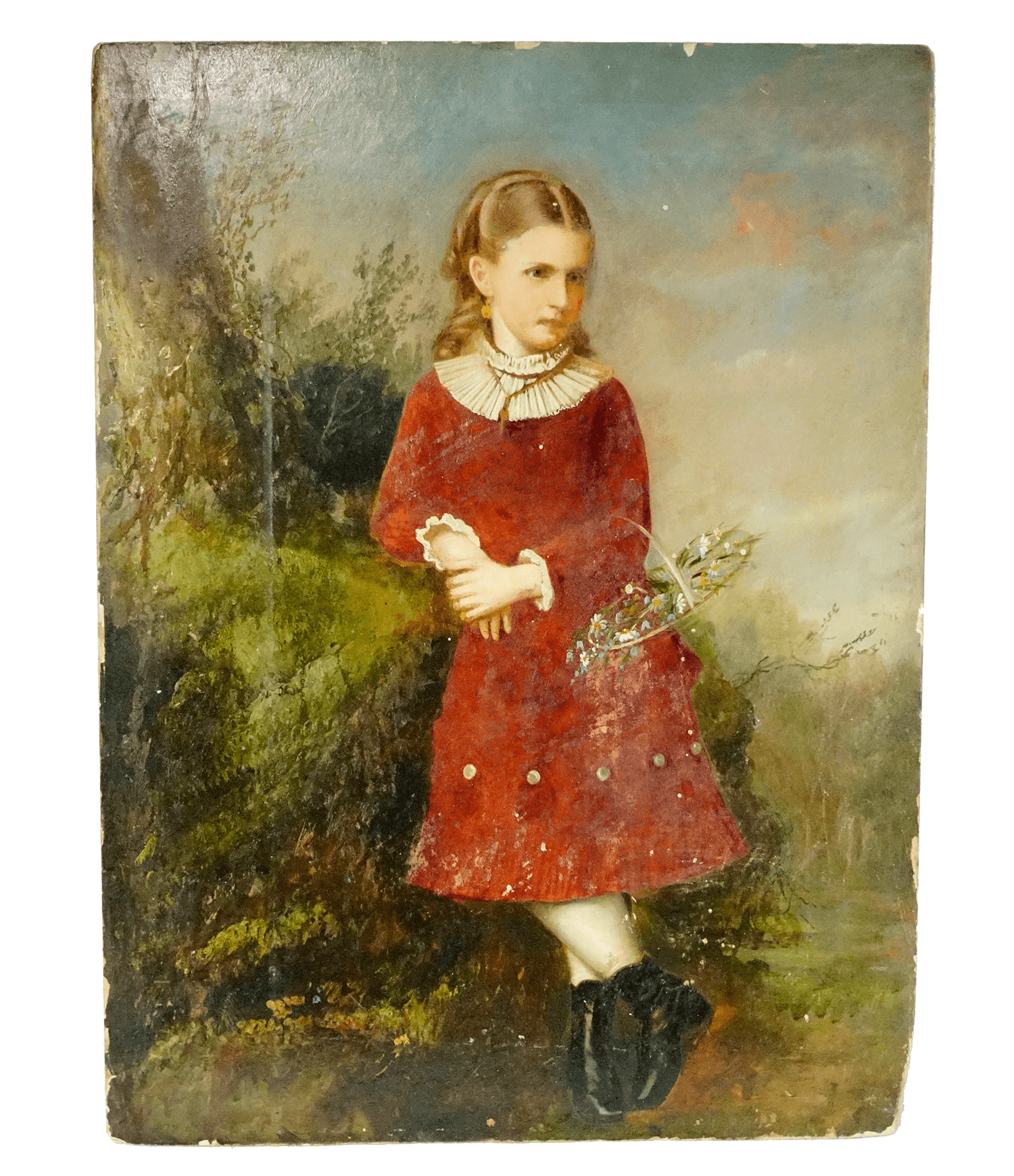 Unidentified European Girl with Flower Basket Painting