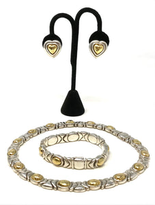 Al-OR Italy 925 Silver & Gold Tone Necklace Set