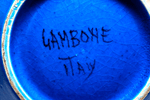 Italian Guido Gambone pottery large mid 20th century signed blue black bowl