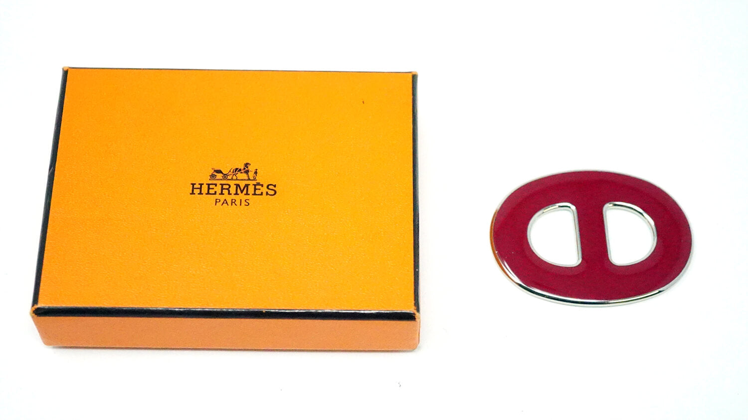 Hermes Paris Red Enamel Scarf Ring