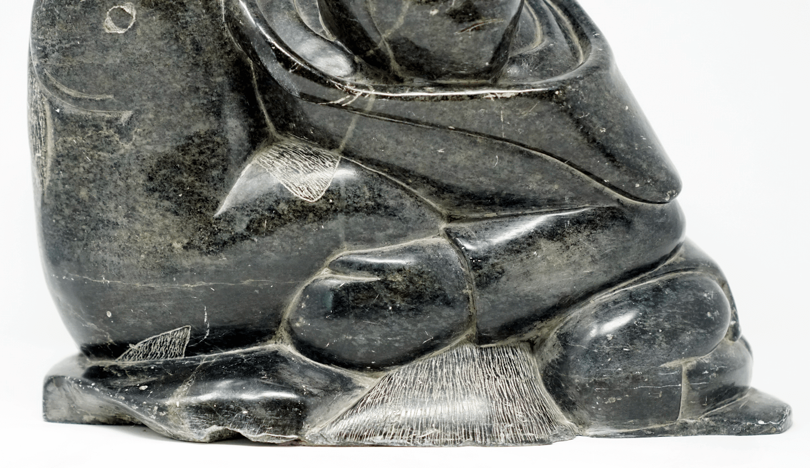 Inuit Soapstone Sculpture Adamie Hunter & Prey
