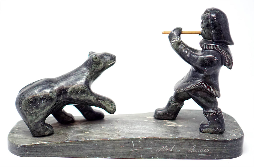 Inuit Eskimo Soapstone Statue Hunter & Bear